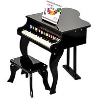 Ts-ideen - Piano infantil (para ni?os de 3 a?os, con 30 teclas, con colores y m?todo con canciones), color negro