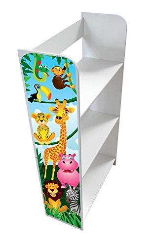 Bibliothèque Meuble De Rangement Motif Animaux de la Jungle Lion Eléphant Girafe Bibliothèque Décoration Etagere De 3 Casiers Blanc Sur Des Livres de Jouets