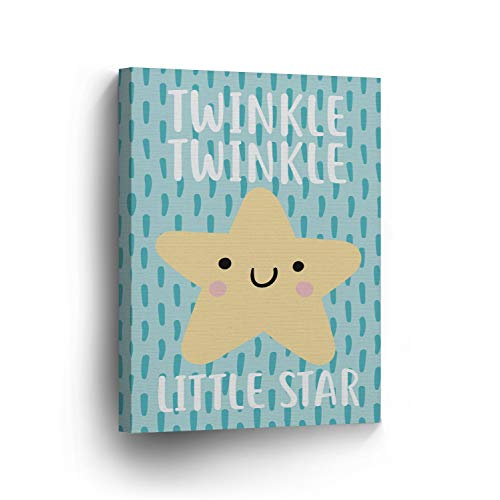 cwb2jcwb2jcwb2j Canvas Print Lovely Twinkle Twinkle Little Star Quote Blue Nursery Art Kids Printable Art Nursery Decor Nursery Wall Art Baby Girl Boy - City-art-giclee Canvas