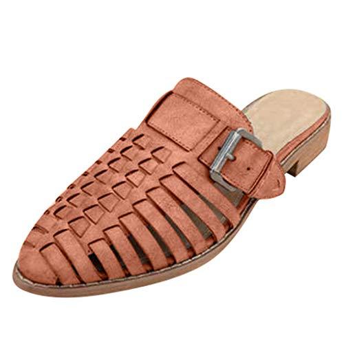 he Oriental Hausschuhe Mule - Slip-On - Open-Back - Fantasy Block absatz Frauen wies Pantoffeln hohle Gürtelschnalle für Lady 'High Heel römischen Strand Schuhe ()