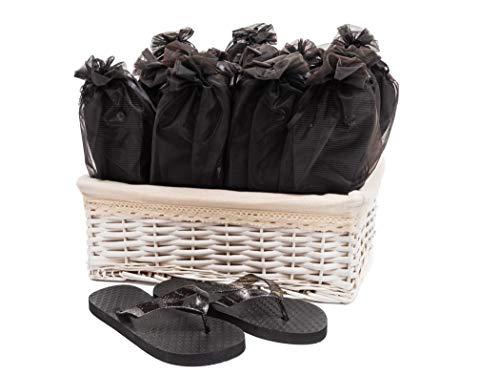 Modo Schwarze Flip-Flops für Hochzeitsfeier im Weidenkorb - 20 Paare