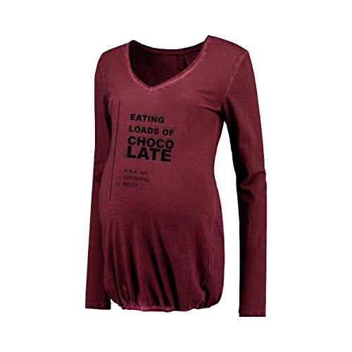 Love2Wait Umstandsshirt Nursing Damen Long Shirt V-Ausschnitt Oil Washed Burgundy