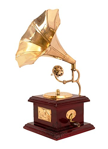 "Indian Art Villa Handmade Vintage Design Brass Gramophone Phonegraph Showpiece, Home Decor Gift Item, 9.5"" Inch"