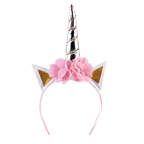 Kostüm Ohren Spitzen Machen (happyquda Spitze Blume Einhorn Horn Ohren Kopfband Cosplay Kostüm Make-up Party Hochzeit Geburtstag Performence Kopfschmuck Haar)