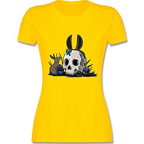 Ostern - Totenschädel Ostern - tailliertes Premium T-Shirt mit Rundhalsausschnitt für Damen Gelb