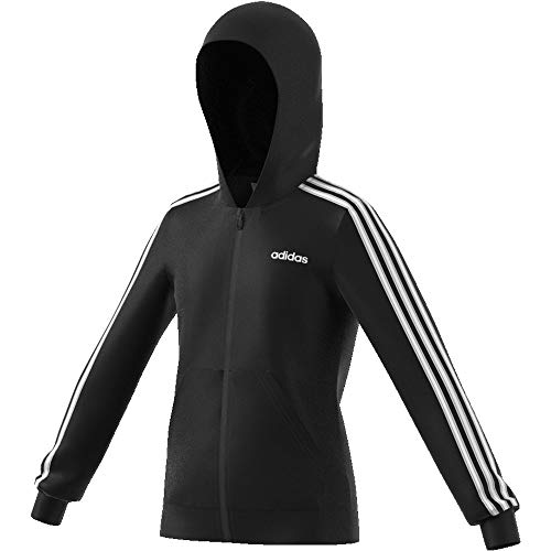 Zip Front Shirt Mädchen (adidas Mädchen Essentials 3-Streifen Full Zip Hoody, Black/White, 164)