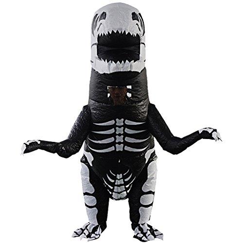 Fett Kostüm Skelett - SM SunniMix Aufblasbares Skelett T REX Dinosaurier Kostüm Fatsuit Luft Anzug für Themenparty Hen Party und Karneval