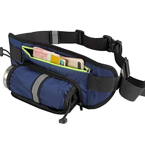 Vanvseor Laufgurt mit Trinkflaschenhalter,Wasserdichte Fahrradgürteltasche Jogging-Gurt Dog Walking Bag für Reisen Urlaub Camping Klettern Wandern im Freien