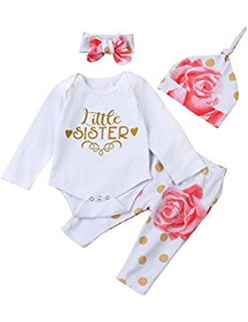 Omiky® Säuglings-Baby-Buchstabe-Spielanzug-Oberseiten + Blumenhosen-Hut-Kleidung 4 Stück Eingestellt