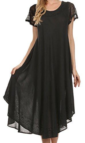 Sakkas Femmes Everyday Essentials Cap manches robe Caftan et Cover Up Noir