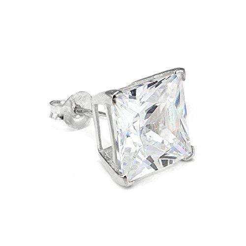 Sterling Silber Viereck Single Ohrstecker für Herren mit 10mm Klarem CZ Kristall