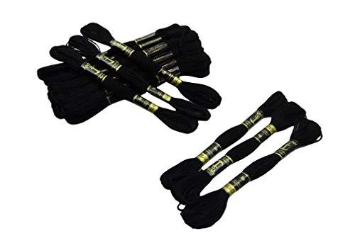 Takestop® filo per ricamo 8mt set 8 pezzi bobine fili cucito cotone punto a croce colori misti uncinetto per lavori a maglia (nero)