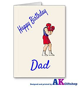 De BOXE Carte d'anniversaire Inscription Happy Birthday Dad A5 Ivoire en lin Carte