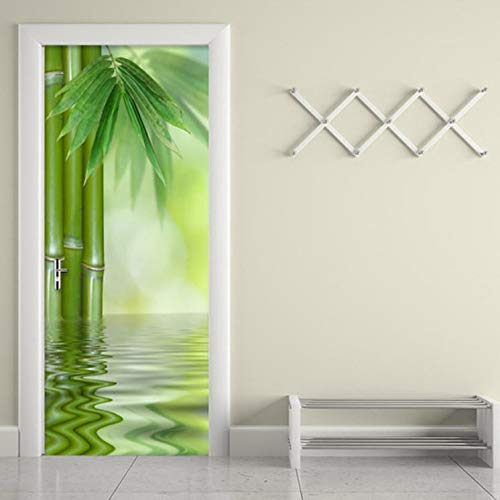 hsowe Kreative DIY 3D Wand Tür Aufkleber Chinesischen Stil Grünen Bambus Tapete Wohnzimmer Wohnkultur Poster Vinyl Wandbild 2 Teile/Set-95X215 cm - Poster Set Teile