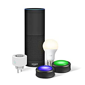Echo Plus (1. Gen.), Schwarz + Woox Smart Plug + Echo Buttons + Philips Hue White