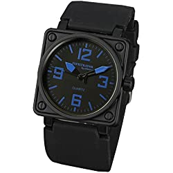 INFANTRY® Mens Quartz Wrist Watch Blue Navy Square Black Rubber Strap INFILTRATOR
