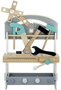 Kindsgut Werkbank, Holz-Spielzeug für Kinder, Werkbank aus Holz mit Zubehör, Kinderwerkbank inklusive Werkzeug und Muttern für kleine Handwerker, geeignet für Mädchen und Jungen ab 3 Jahren