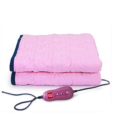 Elektrisch beheizte Heizdecke, waschbar, zeitgesteuert, automatische Abschaltung, Faltbare Baumwolle, extra weich, beheizt, Throw 11-Gang-Anpassung, Heizdecken, Einzelbett, Pink
