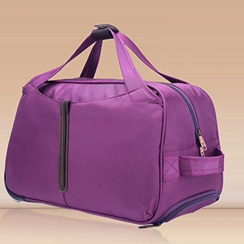 CHENGYANG Reisetasche mit Rollen Handgepäck Trolley groß Fassungsmögen Travel Duffles Koffer leichte Tasche Sporttasche Outdoor Rot 55cm Lila