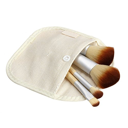 Hrph 4pcs Bamboo Kit Pinceaux Poudre Foundation Sourcils Outil de Maquillage Cosmétique Powder Brush Makeup Brush Set
