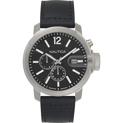 Nautica Men's 45mm Black Leather Band Steel Case Quartz Analog Watch NAPSYD015