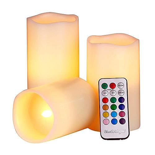LJO 1-Satz Kerzenlicht Multi Farb-Batterie Remote Controlled Color-Changing Decorative