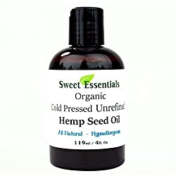 100% Pure Cold Pressed Organic Extra Virgin / Unrefined Hemp Seed Oil (Also Edible) - 4oz - Imported From Canada - Offers Relief From Dry & Cracked Skin, Eczema, Baby Eczema, Psoriasis, Dermatitis, Rosacea & All Common Skin Conditions, Best Natural Moisturizer - 100% Natural, Vegan, Chemical & Preservative Free - By Sweet Essentials
