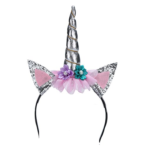Einhorn Haarreif mit Horn Einhorn-Kostüm-Haarreif zum Karneval - - Très Chic Mailanda (Silber) (Einhörner Kostüme)