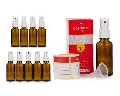 10 x 30 ml Braunglasflaschen mit Fingerzerstäuber, Mini-Trichter + Beschriftungsetiketten, Sprühflaschen mit Lichtschutz, Zerstäuberflaschen mit Pumpsprüher, z.B. für kolloidales Silber oder Parfüm