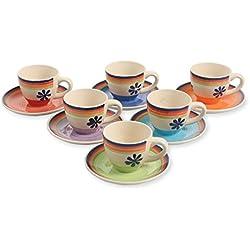 SATUR Set Taza De Cafécon Plato 6 Uds. Granada Multicolor