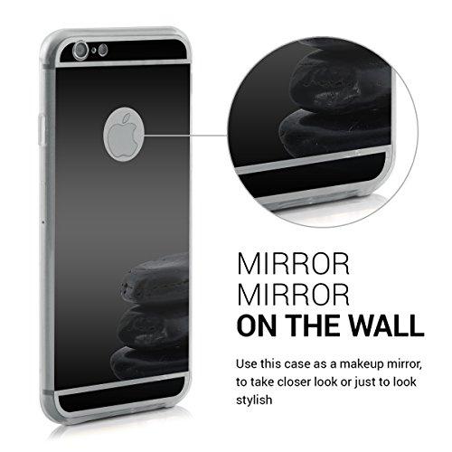 kwmobile Hülle für Apple iPhone 6 / 6S - TPU Silikon Backcover Case Handy Schutzhülle - Cover Marmor Design Schwarz Weiß .Schwarz spiegelnd
