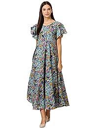 KLOOK Women's Crepe A-Line Maxi Dress - Aegan Blue
