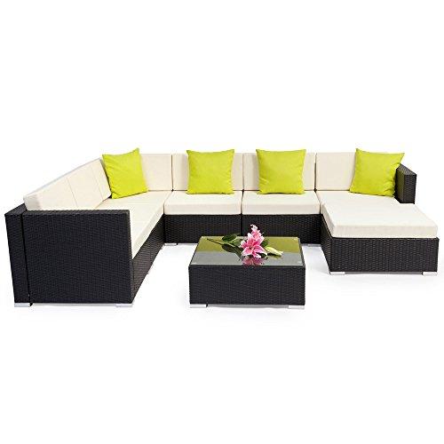 Tectake aluminium luxury rattan garden furniture sofa set outdoor wicker incl pillows - Garden furniture colours ...