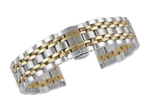 18mm Qualität gerade Ende Uhr Ersatz Armbänder aus massivem Edelstahl in zwei Tönen Silber und Gold