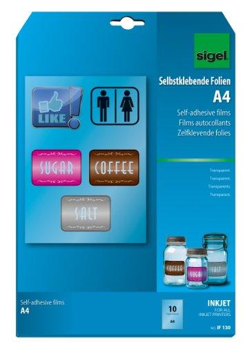 SIGEL IF130 InkJet-Folien A4, 10 Blatt, selbstklebend, transparent, stapelverarbeitbar, 140 µm