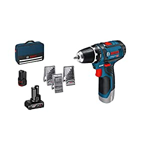 41VPxKkPnXL. SS300  - Bosch Professional GSR 12V-15 - Atornillador a batería (2 baterías x 2,0 Ah, 12V, set de 39 accesorios, en maletín de lona) + Set de 43 unidades para atornillar y llaves de vaso (Ph,Pz,Sl,H,T,Th)