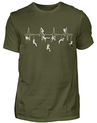 Klettern Shirt · Bergsteiger · Berg · Geschenk für Kletterer · Motiv: Klettern Heartbeat - Herren Shirt -M-Urban Khaki
