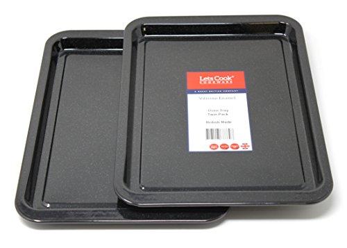 Esmalte vítreo bandeja para horno, 2unidades, British fabricado por Lets Cook batería de cocina