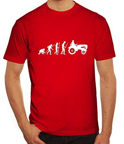 Lustiges Herren T-Shirt Evolution Traktor, Größe: XXL,rot