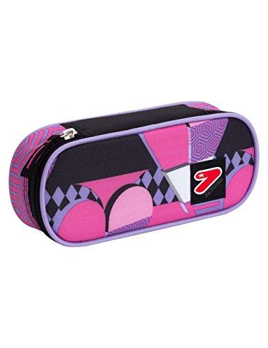 Portapenne scuola seven the double - pinky hearts - rosa viola - porta penne