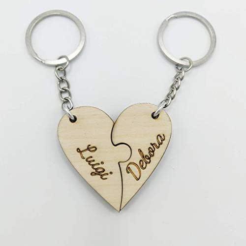 Portachiavi cuore Puzzle in legno Regalo San Valentino e Anniversario per coppia regalino romantico e indimenticabile per le coppie