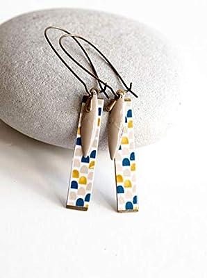 Boucles d'oreilles, Pendantes, Géométrique, Bleu, Beige, Doré, Bronze, Bijoux pour Femme
