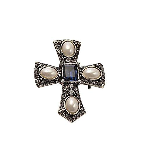 Emorias 1 Stück Damen Brosche Kreuz Pin Kleidung Dekoration Broschen Mode Party Schmuck Elegante Accessoires Geschenk für Männer