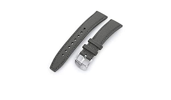 20mm, 21mm or 22mm Strong Texture Woven Nylon Military Green Watch Strap, Polished