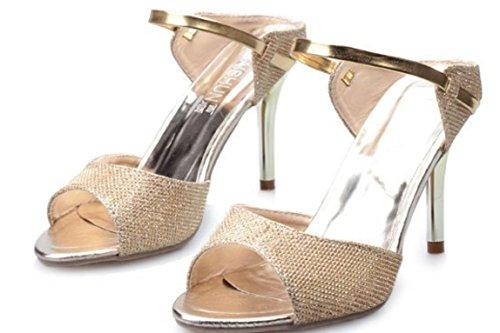 YCMDM FEMME Eté Nouveau sandales poissons bouche talons hauts fine avec boucle Mode Chaussures confortables gold