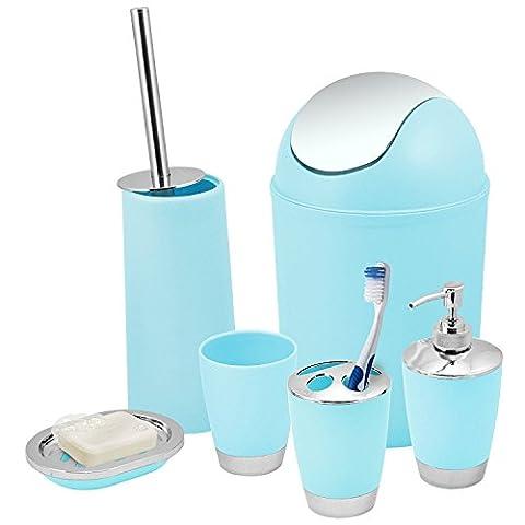 BATHROOM SET 6 PIECE ACCESSORY BIN SOAP DISH DISPENSER TUMBLER TOOTHBRUSH HOLDER (Blue)