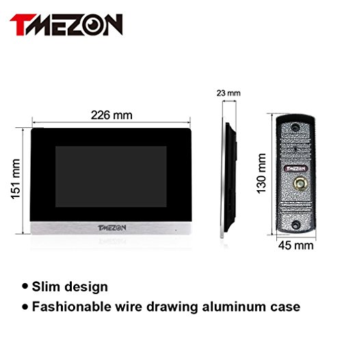 TMEZON 7 Inch Color LCD Touch Screen Video Door Phone Doorbell Intercom Entry System Kit 3-Monitor 1-Camera Night Vision,Support Recording/Snapshot