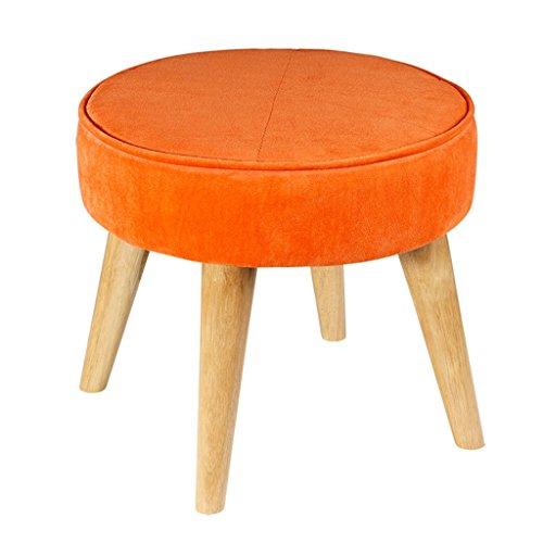 Tabouret Pouf à 4 pieds Chaise avec pouf en bois de chêne Ottomane rond Revêtement amovible en lin avec repose-pieds | Couloir Heavy Duty Max, 150KG 40x36cm (Couleur : Orange)