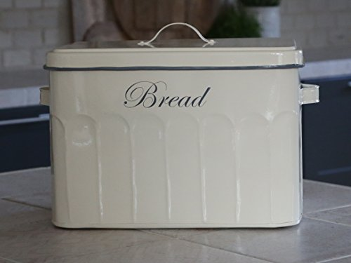 Chic Antique Brotkasten Brotbox groß Vintage Shabby Brocante Nostalgie Emaille (Vintage Emaille Brotkasten)
