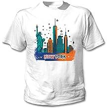 teesquare1st USA New York City Camiseta Blanca para Hombre de Algodon